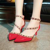 韓版時尚高跟淺口細跟鞋鉚釘性感涼鞋學生氣質女鞋