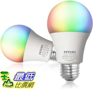 [9美國直購] 智能燈泡 Smart LED Light Bulb 2.4G(Not 5G) E26 WiFi Multicolor Light Bulb Work