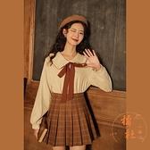 襯衫女娃娃領長袖寬鬆復古甜美顯瘦內搭上衣【橘社小鎮】