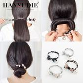 布藝頭飾懶人花苞丸子頭盤髮器造型器韓國百搭蓬鬆扎頭髮飾品神器