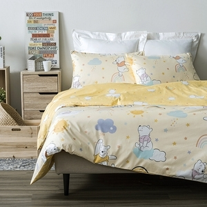 HOLA 迪士尼系列 維尼 純棉防蟎抗菌床被組 雙人 Winnie the Pooh