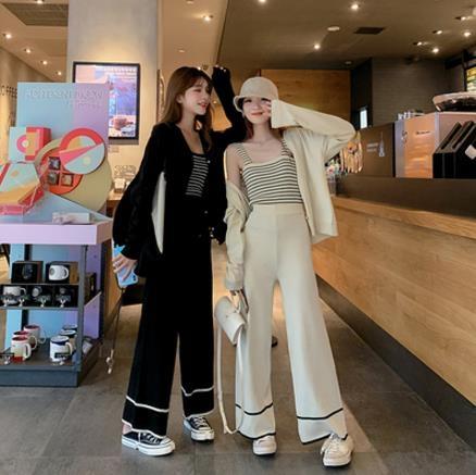 VK旗艦店 韓國風時尚氣質針織套裝長袖褲裝
