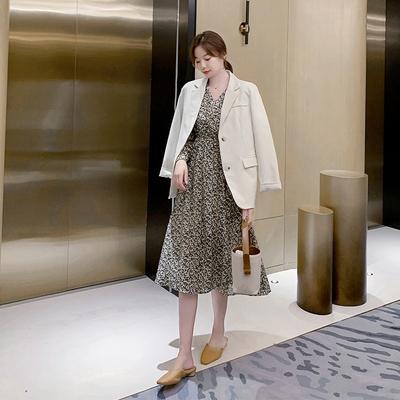 長袖洋裝`輕熟風9175雪紡連身裙法式超仙小香風收腰復古長袖碎花連身裙女H325依佳衣