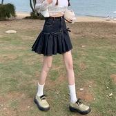 超短裙 牛仔蝴蝶結半身裙女2021夏季新款美式復古高腰顯瘦百褶裙短裙裙子