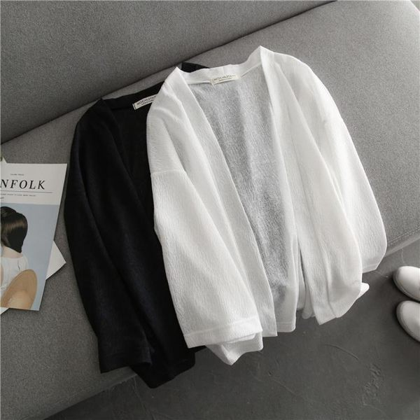 薄款雪紡開衫女 韓版夏季質感七分袖短款純色上衣披肩外套 防曬衣 衣涵閣.