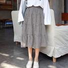 (全館一件免運)DE SHOP~(D-8720)復古百搭鬆緊腰百褶裙女學生中長款格子半身裙
