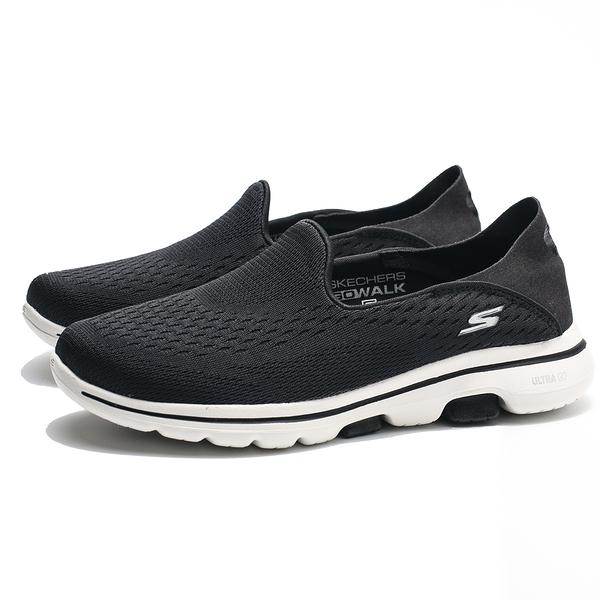 SKECHERS GO WALK5 OUTCLASS 黑白 網布 後跟可踩 懶人鞋 健走 女(布魯克林) 15927BKW