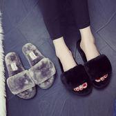 棉拖鞋 棉拖鞋女厚底冬季居家居室內木地板月子毛絨一字拖毛毛拖鞋女冬天 歐萊爾藝術館