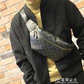 男士斜挎包胸包單肩包時尚潮流背包格子復古小包男潮牌休閒百搭 快速出貨