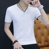 夏裝男2018新款短袖T恤男士韓版雙層V領修身白色T恤學生男裝上衣【快速出貨】