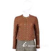 MICHAEL KORS 棕色菱格紋鉚釘裝飾皮衣 外套 1410228-B3