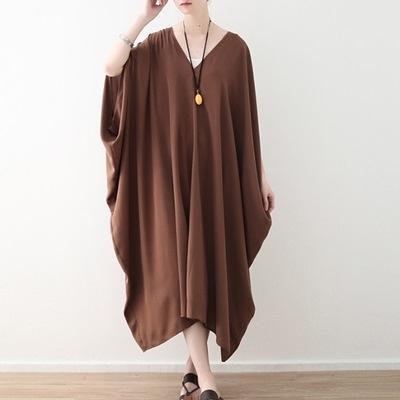 洋裝-長款寬版簡約純色蝙蝠袖休閒女連身裙73sm34【巴黎精品】