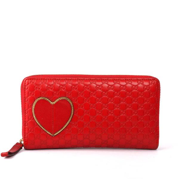 【GUCCI】愛心牛皮壓紋ㄇ型 拉鍊長夾(紅色)GU21000080