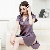 睡衣(裙裝)-真絲短袖刺繡V領高雅氣質女居家服3色73nq59[時尚巴黎]