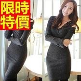 洋裝-長袖設計典雅造型韓版連身裙61a74【巴黎精品】