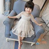 洋裝童裝春夏裝2018新款正韓女童連身裙短袖寶寶蕾絲公主裙兒童紗裙子全館免運
