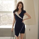 限時38折 韓國風不規則撞色OL拼接包臀顯瘦短袖洋裝