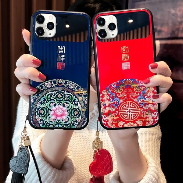 中國風蘋果x手機殼iPhone11Pro Max補妝鏡子7/8plus紅色潮殼xr女款創意6s全包玻璃xs保護殼6p