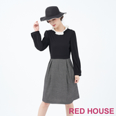 【RED HOUSE 蕾赫斯】羊毛細格紋洋裝(共兩色)
