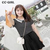 中大尺碼 撞色領條紋針織上衣~共兩色 - 適XL~4L《 66483K 》CC-GIRL