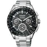 【台南 時代鐘錶 CITIZEN】星辰 廣告款GPS衛星對時光動能旗艦型商務腕錶 CC9015-54E 黑/銀 43mm 公司貨