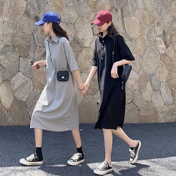 POLO領洋裝 韓國東大門polo領中長款短袖女夏季過膝T恤裙寬松大碼顯瘦洋裝 果果生活館