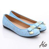 A.S.O 舒適通勤 真皮蝴蝶結奈米防滑跟鞋  淺藍