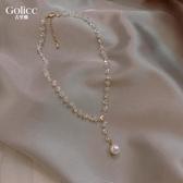 簡約氣質小眾設計感水晶珍珠項鏈女頸鏈ins冷淡風網紅潮鎖骨鏈