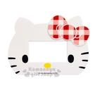 〔小禮堂〕Hello Kitty 橫式插座開關裝飾板《白.大臉.寬版大孔.紅格蝴蝶結》 8021044-60004