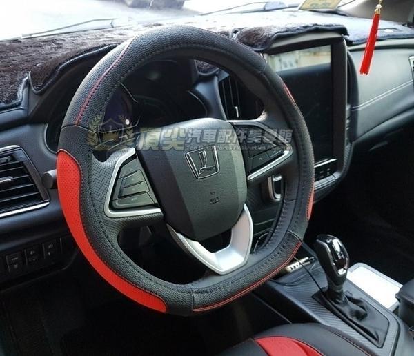 TOYOTA豐田WISH【D型運動方向盤皮套】2-2.5代專用 皮革直套式 三幅式賽車款 保護套 紅色車縫線