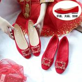 平底婚鞋女2018新款冬季紅色新娘鞋低跟大碼加絨孕婦結婚淺口單鞋 居享優品