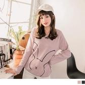 《AB8256-》台灣製造.兔子燙印設計磨毛上衣 OB嚴選