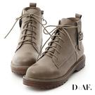 D+AF 個性酷感.釦環綁帶休閒馬丁短靴*灰