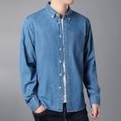 牛仔襯衫新偏薄防曬服 牛仔襯衫男棉質寬鬆加肥加大碼長袖素面工作襯衣