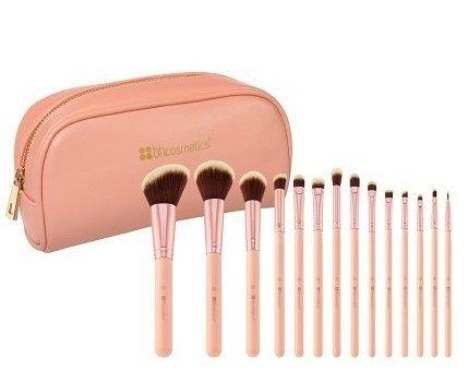 美國 BH Cosmetics 14件 Piece Brush Set with Cosmet 粉紅色 化妝刷具組 附刷包