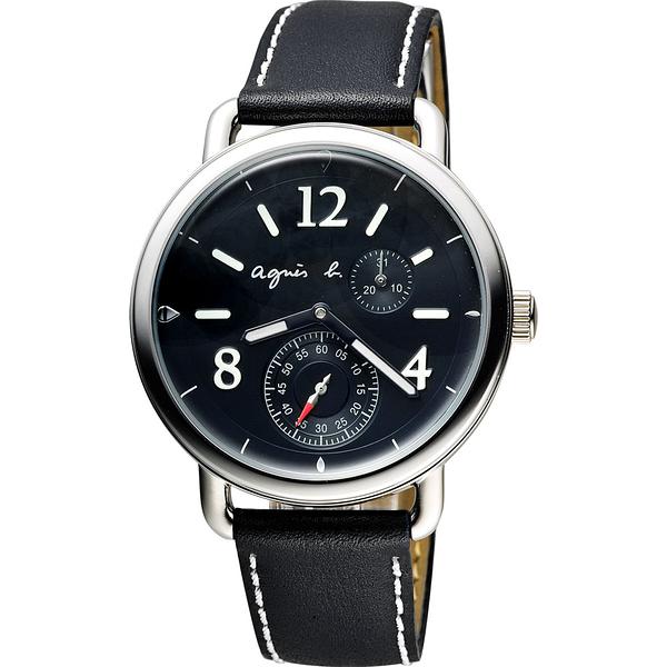 agnes b. Journey 新世界航海小秒針腕錶-黑/40mm VD73-KV10D(BW2005X1)