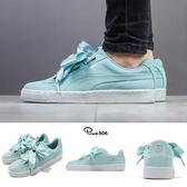 Puma 休閒鞋 Suede Heart Pebble Wns 綠 粉綠 麂皮 緞帶鞋 大蝴蝶結 女鞋【ACS】 36521003