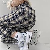格子褲格子褲子女寬鬆韓版ins春秋新款高腰顯瘦抽繩百搭休閒束腳運動褲 快速出貨