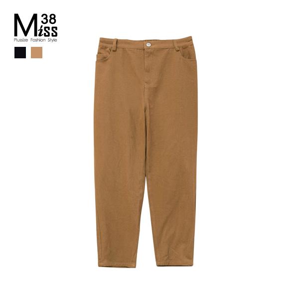 Miss38-(現貨)【A02226】大尺碼休閒褲 寬鬆純色 百搭直筒褲 工作褲 純棉鬆緊腰 可反折長褲-中大尺碼
