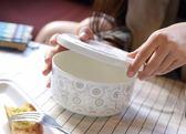泡面碗帶蓋陶瓷 大號韓式微波爐碗飯盒便當盒碗學生碗骨瓷「多色小屋」