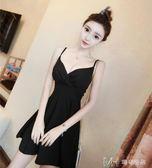 春裝款女性感V領低胸收腰露肩吊帶很仙的法國小眾洋裝夏   瑪奇哈朵