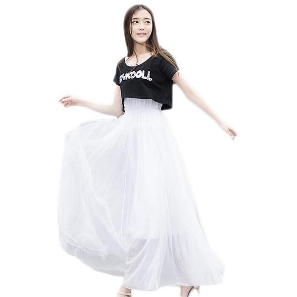 紗裙 2019新款學生韓版夏裝少女小清新長款顯瘦洋裝套裝裙子女兩件套【【八折搶購】】