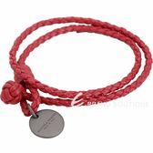 BOTTEGA VENETA 編織小羊皮雙圈手環(罌粟紅) 1830533-54