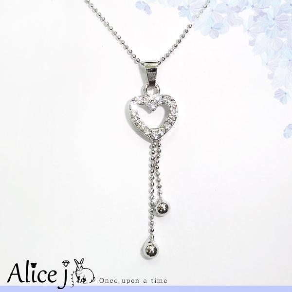 韓系風 縷空小鑽心流蘇珠珠 項鍊
