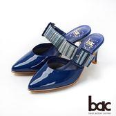 【bac】紐約不夜城 - 摩登復古漆皮異材質兩截式穆勒鞋半包高跟鞋(藍色)