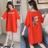 短袖洋裝 韓版貼布破洞大尺碼卡通印花體恤上衣純棉寬鬆中長款短袖T恤裙女夏