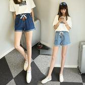 休閒短褲褲女寬鬆胖MM熱褲捲邊學生闊腿靴褲