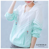 Catworld V字條紋雙色防風連帽運動外套【15003509】‧F/XL