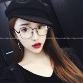 現貨-韓版vintage時尚百搭平光鏡文藝復古眼鏡框金屬方框眼鏡眼鏡新款金屬框架眼鏡韓版潮流平光