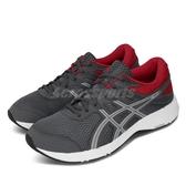 Asics 慢跑鞋 Gel-Contend 6 4E Extra Wide 超寬楦 灰 紅 男鞋 運動鞋 【PUMP306】 1011A666021